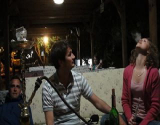 Paxton, Paul and Tianca smoking some sheesha in a çadra
