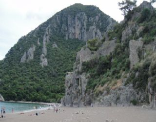 Part of the beach at Olympos near the river mouth