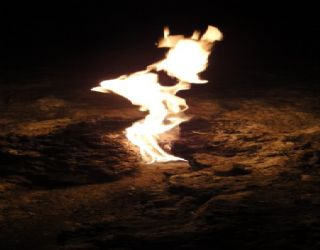 One of the Chimaera flames shooting out from the ground